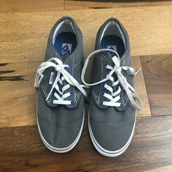 Gray Lace Vans Sneakers with Blue Details